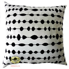 white with black circles oval dot Raised Flocked Satin Cushion Cover/Pillow case