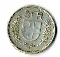 Moneda Suiza 1931 B 5 francos suizos plata .835 silver coin