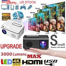 Portable Projector 1080P HD Mini Home Theater Movie LCD Support HDMI USB White