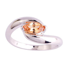 Marquise Cut Morganite Gemstone 925 Silver Ring Size 10 Cute Beautiful Jewelry