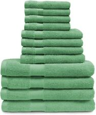 12-pc Superior Egyptian Cotton Towel Set 4 Bath, 4 Hand, 4 Face Towels Sea Green