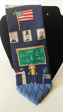 SAVE THE CHILDREN Mens Necktie Blue Multi FUN Teacher Silk Tie 60x4""