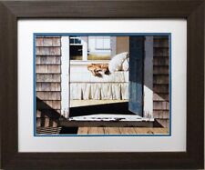"Zhen Huan Lu ""Home Again"" CUSTOM FRAMED Art Dog Retriever Master Bedroom"