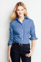 Lands' End - 2 (XS) - NEW Career Blue Wrinkle-Free L/S Button-Down Shirt Blouse