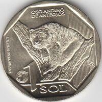 Peru Coins 1 Sol 2017 Oso Andino UNC