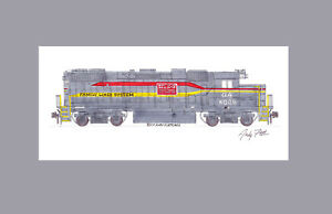 "Family Lines (Georgia) GP38-2 #6009 11""x17"" Matted Print Andy Fletcher signed"