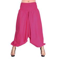 New Women Harem Pants Indian Ali Baba Pink Plain Solid Baggy Yoga Cotton Trouser