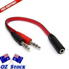 3.5mm AUX Audio Mic Mixer 1 Female to 2 Male - For 2 in 1 headset audio  - Oz