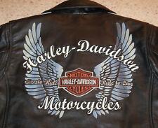 LN Women's Harley Davidson Wings Black Orange Leather Jacket Coat, PETITE LARGE