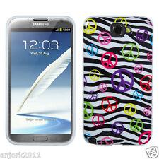 Samsung Galaxy Note II 2 CANDY SKIN COVER SOFT CASE ACCESSORY PEACE ZEBRA