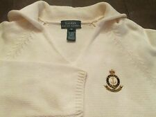 RALPH LAUREN CREAM SWEATER WITH CHEST LOGO RETAILS $98.00 SIZE M