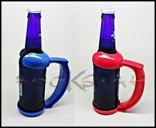 2x 12oz Bottle Clip On Handle- Tight Grip, Hold on to Ice Cold Beer Red/Blue