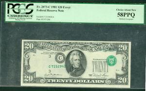 $20 FRN – Phila 1981 Fr. #2073c HUGE Ser# ERROR Gr58PPQ