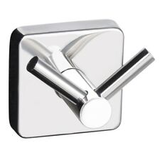Quattro Bathroom Double Robe and Towel Hook Square Style 3m Self Adhesive Wall