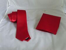 """Magenta Maroon Red Mens Skinny Polyester Tie and Hankie Set -2.5"""" = 6cm Width"""