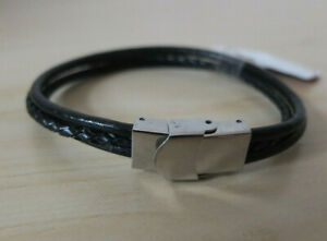 Men's Bracelet Leather & Stainless Steel Fastener 8 5/16in England Braun New