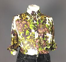Topshop Cream Purple Smart Floral Chiffon Boxy High Low Blogger Blouse Size 8