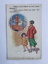 c1930 Colour Donald McGill Postcard. Milton Comic 773. Bricklayer or Statue