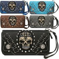 Sugar Skull Punk Style Day of the Dead Wrist Strap Bling Rhinestone Women Wallet