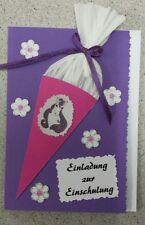Einladungskarten zur Einschulung (5 Stück) -mit kleiner Zuckertüte