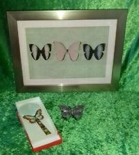 COLLECTABLE ITEMS, FRAMED PAPER BUTTERFLY, ENAMELED TRINKET BOX AND  MAGNIFIER.