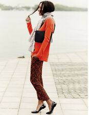 NWT $138 BODEN WM329 WOMEN'S JACQUARD RED BISTRO CROP TROUSERS PANTS - US 2P