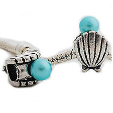 Sea Shell with Blue  Pearl Charm Spacer Beads for Snake Chain Charm Bracelet