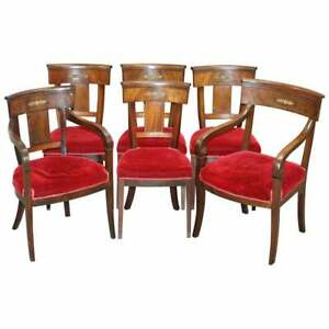 SUITE OF 6 NAPOLEON III FRENCH EMPIRE REVIVAL DINING CHAIRS MAHOGANY &  BRONZE