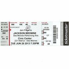 Jackson Browne Full Concert Ticket Stub Des Moines Iowa 6/25/13 Take It Easy