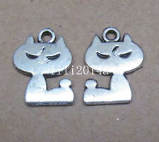 20pc retro Tibet Silver Charm lovely cat animal beads accessories
