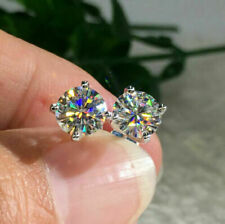 2Ct Round Cut Moissanite Diamond Solitaire Stud Earrings 14K White Gold Finish
