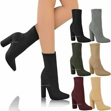 Womens Ladies Block High Heel Stretchy Ankle Boots Chelsea Fitted Shoes Size 3-8