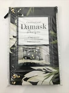 Charter Club Damask Designs Cotton Pressed Floral Printed European Sham $70