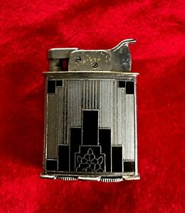 Vintage 1930 Art Deco Evans Lighter Black/Chrome Jazz Age ROLLERBEARING EX RARE!