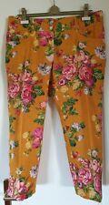 DOLCE & GABBANA D&G 7/8 Hose Leinen Blumen Maisgelb Fuchsia Rosa D 40