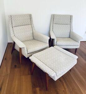 Fabulous Milo Baughman Laid Back Lounge Chair with Matching Ottoman