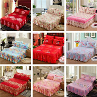 3pcs/set Twin Queen Size Dust Ruffle Bed Skirt Pillowcase Bedding Skirt Set New