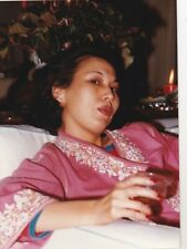 OLD PHOTO BEAUTIFUL WOMAN GLAMOUR FASHION GOWN ETHNIC ASIA W2