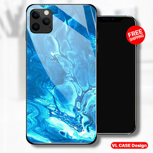 iphone 13 pro case Blue Marble Tempered Glass Phone Case Samsung S21 Plus Gift