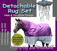 "COMFORT VERSATILE DETACHABLE 2000D 5'9"" WINTER  PADDOCK HORSE RUG SET(p)"