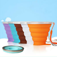 Retractable Travel Cups Silicone Folding Cup Dustproof Cover Lid Lanyard