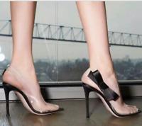 Lady Transparent Sexy Bow High Heels Sandals Peep Toe Women Stiletto Buckle Shoe
