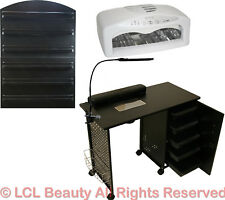Vented Manicure Nail Table Station Led Dryer Wall Mount Rack Salon Spa Equipment