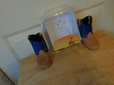 NEW OLD WEST POPPETS BABY TODDLER BLUE/TAN TEXAS cowboy LEATHER BOOTS SIZE 4