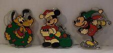3 Disney Plastic Ornaments Mickey Santa Skater Pluto Wreath Monogram Products