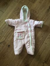 Baby Girls Snowsuit Pink Size 9-12 Months Fleece Lined