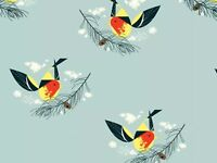 RPFCHB64A Charley Harper Western Tanager Song Birds Organic Cotton Quilt Fabric