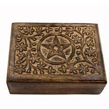Schmuckschatulle Holz Schatulle Schmuckkästchen Kästchen Stern Pentagram ts