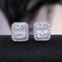 Elegant Women 925 Silver Stud Earrings White Sapphire Wedding Jewelry A Pair/set
