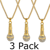 3 Pack Gold Microphone Necklace Pendant with 27' Chain Swag
